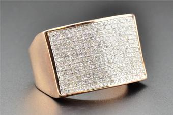 10K Rose Pink Gold Round Cut Pave Designer Statement Diamond Pinky Ring 1 CT