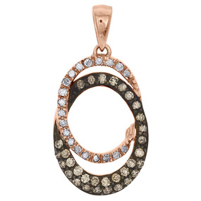 10K Rose Gold Brown Diamond Double Oval Pendant Ladies Necklace 0.50 CT.