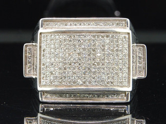 Diamond Designer Pinky Ring .925 Sterling Silver Round Pave Fashion Band .71 Ct.