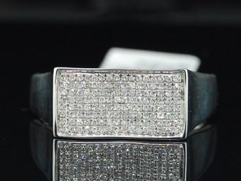 10K MENS WHITE GOLD .25CT PAVE DIAMOND LONG PINKY RING
