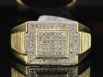 10K MENS .25 CT YELLOW GOLD ROUND PAVE DIAMOND PINKY RING SQUARE ENGAGEMENT BAND