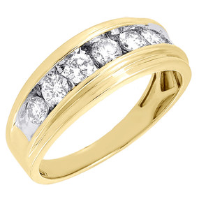10K Mens Yellow Gold 7 Stone Diamond Engagement Ring Wedding Band 1 ctw. 8.5mm