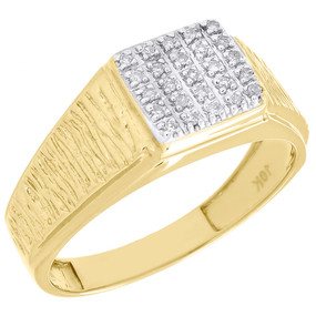 Diamond Wedding Band Mens Yellow Gold Round Cut Pave Engagement Ring 0.12 Ct.