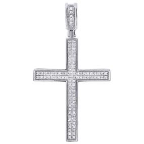"10K White Gold Diamond Mini Cross Pendant 0.33 Ct. Pave Set Concave Charm 1.62"""