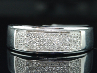 Diamond Wedding Band .925 Sterling Silver Mens Pave Engagement Ring 0.35 Ct.
