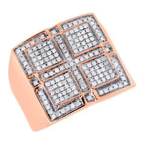 10K Rose Gold Mens Round Cut Diamond Pinky Ring Pave Square Fashion Band 0.51 Ct