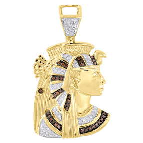 10K Yellow Gold Egyptian Queen Nefertiti Mens Real Diamond Pendant