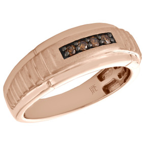 10K Rose Gold Mens Brown Diamond Wedding Band 8.25mm Brushed Finish Ring 1/7 CT.