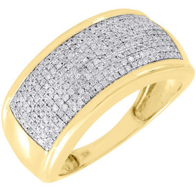 Diamond Wedding Band Men's 10K Yellow Gold Round Cut Pave Engagement Ring .60 Ct