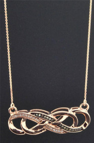 10K Rose Gold Brown Diamond Double Infinity Pendant Fancy Charm Necklace 1/8 CT.