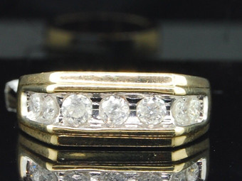 Diamond Wedding Band Engagement Ring Mens 10K Yellow Gold Round Cut 7 Stone 1 Ct