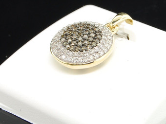 10K LADIES YELLOW GOLD Champagne BROWN DIAMOND CIRCLE PENDANT CHARM FOR NECKLACE