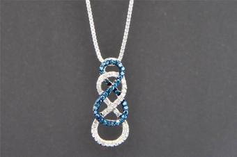 Blue Diamond Double Infinity Pendant 10K White Gold 0.27 CT.