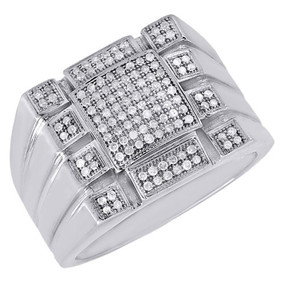 10K White Gold Round Cut Pave Diamond Statement Fashion Pinky Ring Mens 0.35 Ct.