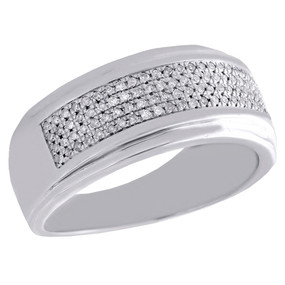 .925 Sterling Silver Pave Diamond Mens Wedding Band Engagement Ring 0.35 Ct.
