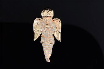 10K Pink Rose Gold 3D Baby Mini Cherub Angel Diamond Pendant Charm Jesus .55 Ct