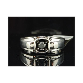 Black Diamond Solitaire Wedding Band .925 Sterling Silver Round Ring 0.53 Tcw.