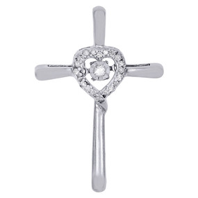 10K White Gold Dancing Diamond Cut Out Heart & Cross Pendant 0.10 CT.
