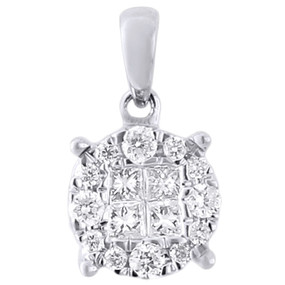 14K White Gold Princess Cut Diamond Ladies Circle Pendant  0.25 CT.