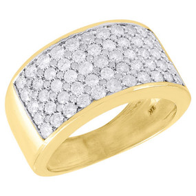 10K Yellow Gold Diamond Wedding Band Mens Round Cut Pave Engagement Ring 2.50 Ct