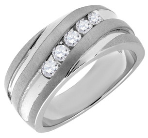 Diamond Wedding Band 10K White Gold Round Cut 0.50 Ct Men's Comfort Fit Ring