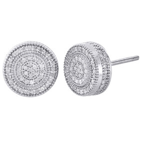 10K White Gold Diamond 3D Cube Circle 10mm Pave Round Cut Stud Earrings 0.75 Ct.