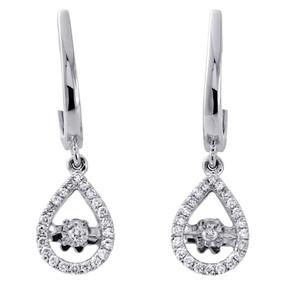 "10K White Gold Dancing Diamond Dangler Halo Teardrop 1.02"" Earrings 0.25 Ct."