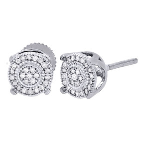 10K White Gold Round Diamond 4 Prong Circle Pave Studs 7.50mm Earrings 0.30 Ct.