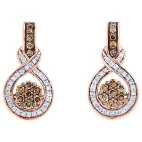 10K Rose Gold Brown Diamond Cluster Infinity Symbol Drop Earrings Dangle 1/2 CT.