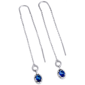 .925 Sterling Silver Created Sapphire & Diamond Oval Threader Earrings 0.10 CT.