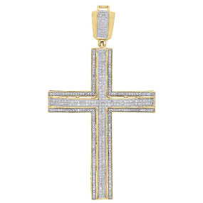 "10K Yellow Gold Genuine Diamond Cross Pendant 2.80"" Domed Pave Charm 1.22 ct."