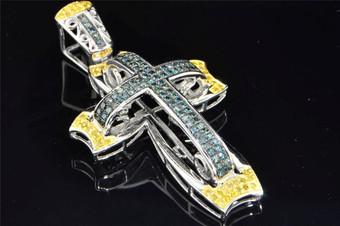 10K White Gold Blue & Yellow Diamond Cross Pendant Designer Charm .90 ct.