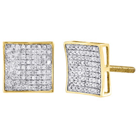 Diamond Square Studs 10K Yellow Gold Concave Pave Fashion Earrings 0.37 Tcw.