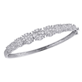 "14K White Gold Princess Diamond Quad Tennis Bangle Statement Bracelet 7.5"" 3 Ct."