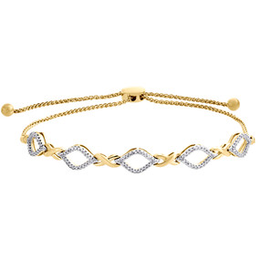 "10K Yellow Gold Diamond Pointed Oval Infinity Bolo Bracelet 10"" - 0.25 CT."