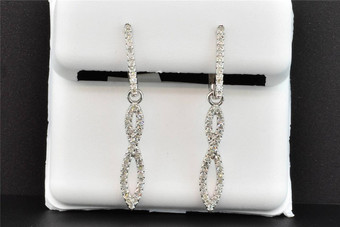 Diamond Infinity Dangle Earrings 10K White Gold Round Cut 1/4 Ct Snap Closure