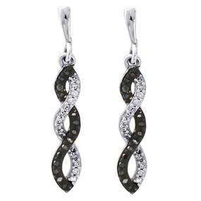 """10K White Gold Black Diamond Infinity Love Dangle Earrings 0.90"""" Long 0.17 Ct."""