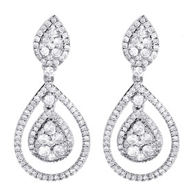 Diamond Dangler Earrings Ladies 14K White Gold Round Pave Teardrop 1.51 Tcw.