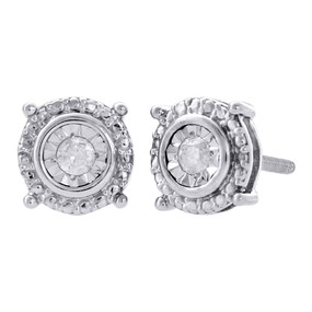 .925 Sterling Silver Diamond Circle Earrings Small Round 7.10mm Earrings 0.10 Ct