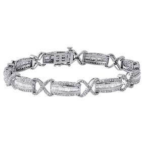 "10K White Gold Round & Baguette Diamond Bracelet 7"" Infinity Shape Link 3 Ct."