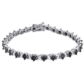 925 Sterling Silver Ladies Round Black Diamond 'X' Style Tennis Bracelet 1.01 Ct
