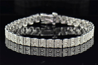 "Diamond Bracelet Pave Fanook Set Designer Ladies .925 Sterling Silver 7"" 0.33 Ct"