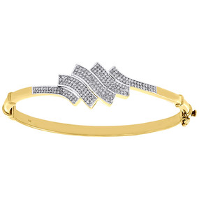 10K Yellow Gold Diamond Bangle Bracelet Ladies Round Cut Pave Set Wave 1/2 Ct.