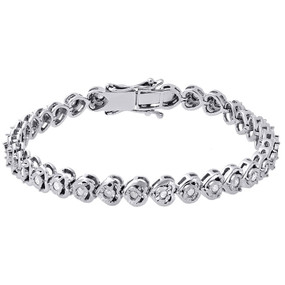 "1 Row Heart Shape Diamond Tennis Bracelet Bezel Set Sterling Silver 7.25"" 1 Ct."