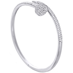 14K Solid White Gold Round Diamond Nail Bangle Size 20cm Unisex Bracelet 2 CT.