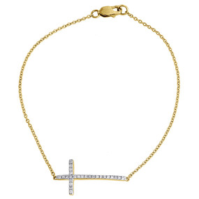 Diamond Sideways Cross Bracelet Ladies 10K Yellow Gold Round Charm 0.17 Tcw. 7""