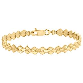 "10k Yellow Gold Diamond Cut Pointed Heart 6.50mm Link Milgrain Bracelet 7.25"""