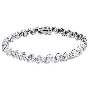 "10K White Gold Round Cut Diamond 7mm S-Link Fancy Bracelet Miracle Set 7"" | 3 CT"