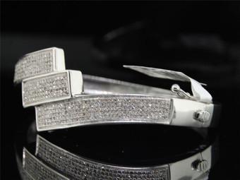 Ladies .925 Sterling Silver Pave Diamond Bangle Bracelet 1.32 Ct.