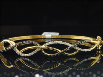 "10K Yellow Gold Ladies Infinity Round Diamond Bangle Bracelet 6.50"" 0.39 Ct 10MM"